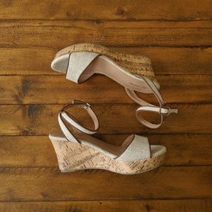 Call It Spring Nissana Neutral Canvas Cork Wedges